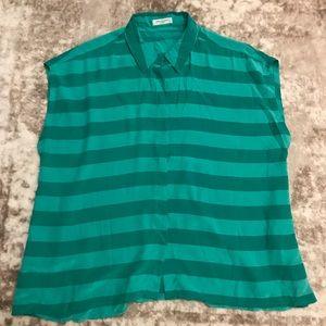 Equipment Sleeveless Green Striped Silk Blouse